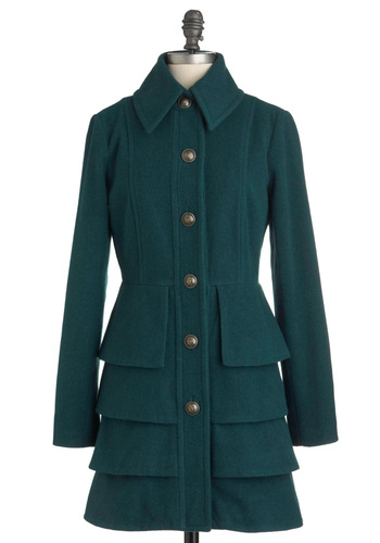 Big City Blues Coat in Spruce by BB Dakota - Green, Solid, Buttons, Tiered, Long Sleeve, Long, Winter, Exclusives, 3, Holiday Sale