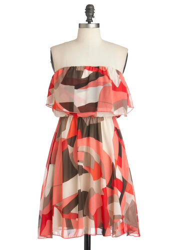 Shoreline Art Show Dress - Multi, Orange, Brown, White, Empire, Strapless, Summer, Tan / Cream, Tiered, Casual, Mid-length
