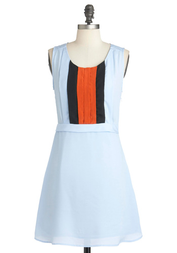 Streak of Sunset Dress - Short, Blue, Orange, Black, Pleats, Party, A-line, Sleeveless, Fit & Flare