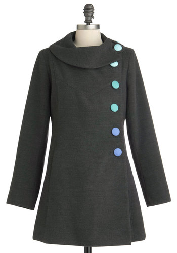 Mod for It Coat in Grey - Grey, Green, Blue, Solid, Buttons, Long Sleeve, Vintage Inspired, 60s, Mod, 3, Long, International Designer, Tis the Season Sale