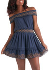 You Indigo, Girl Dress - Short, Blue, Brown, Embroidery, Casual, Solid, Eyelet, Boho, Off the Shoulder