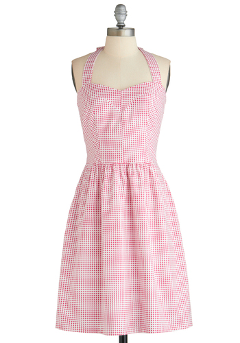 Heart Gallery Dress - Mid-length, Pink, White, Casual, A-line, Halter, Print, Pockets, Summer