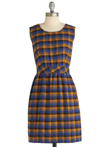 Plaid to Help Dress by Tulle Clothing - Orange, Blue, Black, Sheath / Shift, Sleeveless, Fall, Mid-length, Plaid, Casual, Scholastic/Collegiate, Better, Exclusives, 90s