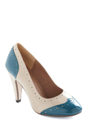 Swing Tips Heel by Chelsea Crew - Blue, Mid, White, Cutout, Work