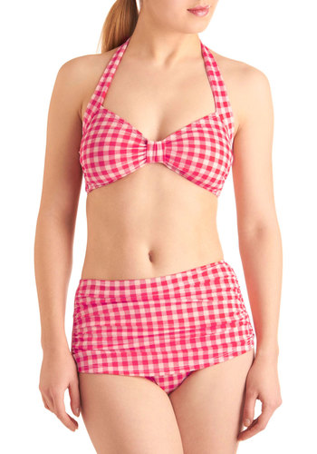 Aye, Aye, Cabin Two-Piece Swimsuit by Esther Williams - Rockabilly, Red, Checkered / Gingham, Halter, White, Summer