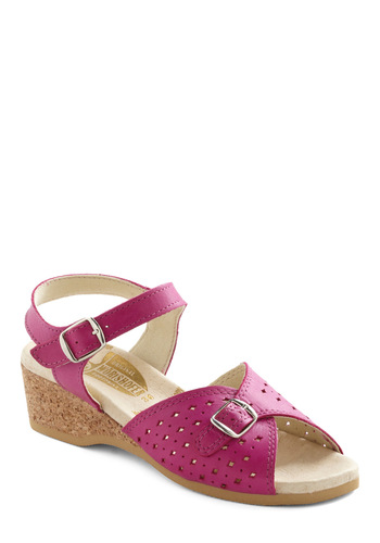 View of the Sea Sandal in Fuchsia by Wörishofer - Pink, Solid, Cutout, Summer, Low, Better, Casual