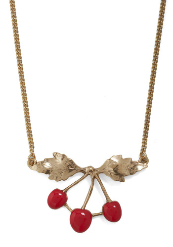 Cherry on Top Necklace by And Mary - Fruits, Gold, Red, Tis the Season Sale