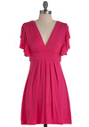 Plum Role Dress in Fuchsia - Pink, Solid, Pleats, Casual, Empire, Short Sleeves, Ruffles, Short, Exclusives, Jersey, V Neck, Summer