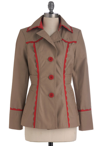 Crafting Convention Jacket - Tan, Buttons, Pockets, Scallops, Casual, Long Sleeve, Red, Solid, Trim, 1.5, Mid-length
