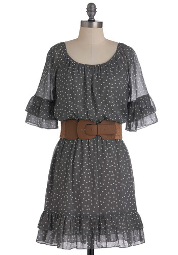 Sincerest Form of Fluttery Dress - Grey, White, Polka Dots, Ruffles, Shift, Mid-length, 3/4 Sleeve, Belted, Sheer