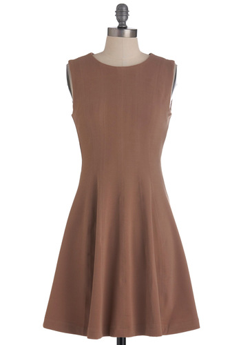 By the Sheath Dress - Brown, Solid, Work, Mid-length, A-line, Sleeveless