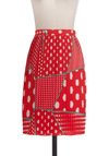 So Many Options Skirt - Mid-length, Red, Green, White, Polka Dots, Pleats, Casual, Pencil