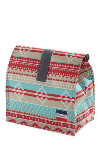 Snappy Trails Lunch Bag - Multi, Red, Blue, Tan / Cream, Print, Travel