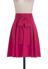 In It to Spin It Skirt - Mid-length, Pink, Solid, A-line, Belted, Fit & Flare