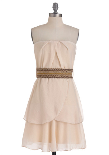 Capital Grains Dress in Vanilla - Cream, Solid, Pleats, Party, A-line, Strapless, Belted, Mid-length, Sheer