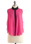 Pink What You Will Top - Mid-length, Pink, Black, Buttons, Sleeveless, Ruffles, Party