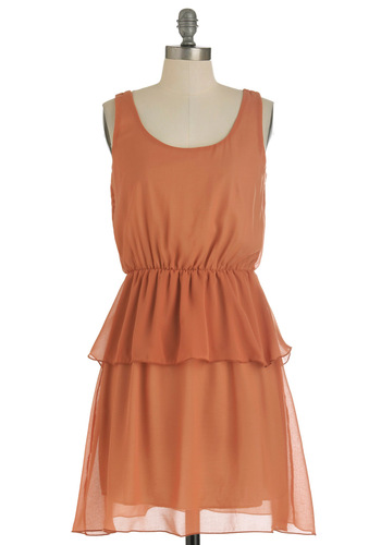 Forever and Ember Dress - Mid-length, Solid, Party, Tank top (2 thick straps), Orange, Peplum