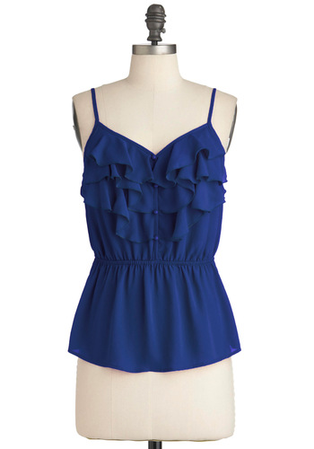 Drop Everything Top in Blueberry - Blue, Solid, Buttons, Ruffles, Casual, Spaghetti Straps, Summer, Mid-length