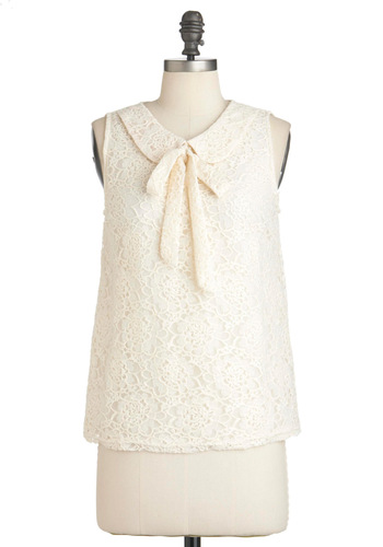 Ivory So Often Top - Mid-length, Cream, Solid, Lace, Peter Pan Collar, Sleeveless, Tie Neck, Floral, Work