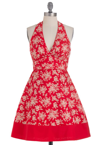 Bakers' Meet-Up Dress - Mid-length, Red, Tan / Cream, Floral, Party, Vintage Inspired, Halter, Summer, A-line, Cotton, Daytime Party, Fit & Flare, V Neck, Tis the Season Sale