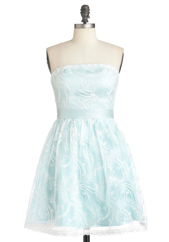 Chill With Me Dress - Blue, White, Prom, Party, Strapless, Fit & Flare, Wedding, Mid-length