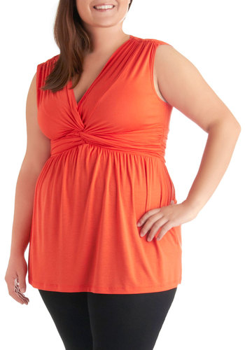 Give Off Good Vibrants Top in Plus Size - Casual, Orange, Solid, Sleeveless, Long