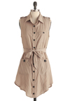 One Can Taupe Tunic - Long, Tan, Solid, Buttons, Pockets, Sleeveless, Casual, Safari, Epaulets, Summer, Military