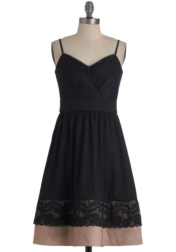 The Evenings Surprise Dress - Mid-length, Black, Tan / Cream, Solid, Beads, Lace, Spaghetti Straps, Tiered, Collared, Fit & Flare, Cocktail