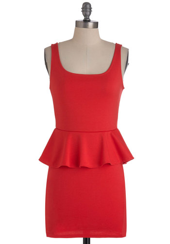 Coral in Good Time Dress - Short, Red, Solid, Party, Peplum, Tank top (2 thick straps)