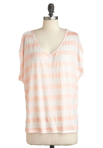 Give Me a Daybreak Top - Pink, Stripes, Casual, Short Sleeves, White, Mid-length, Pastel, Jersey, V Neck