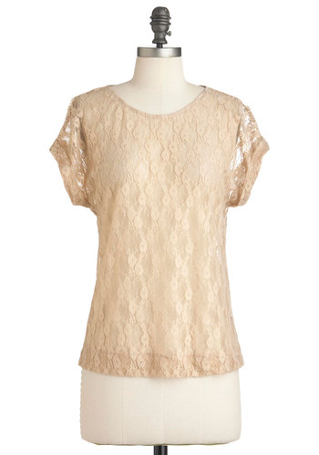Down by the Beige Top - Lace, Casual, Short Sleeves, Tan, Gold, Floral, Cocktail, Sheer, Mid-length