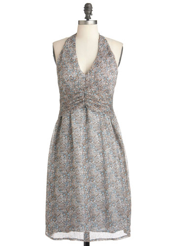 Loveswept in the Garden Dress in Blue - Long, Multi, Blue, Brown, Floral, Party, Empire, Halter, Summer, White, Ruching, Cocktail, V Neck