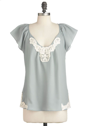 Sweetness and Light Top - Green, Tan / Cream, Lace, Solid, Short Sleeves, Mid-length, Sheer