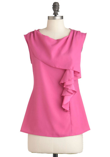 I Like How You Pink Top - Mid-length, Pink, Solid, Ruffles, Sleeveless, Work