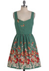 Vine and Dine Dress - Mid-length, Green, Red, Orange, Tan / Cream, Floral, Party, Fit & Flare, Tank top (2 thick straps)