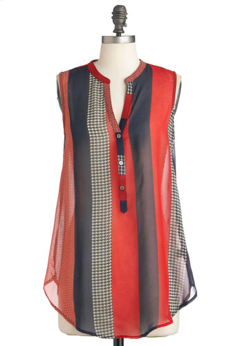 Live in the Pastiche Top - Long, Red, White, Stripes, Buttons, Sleeveless, Blue, Houndstooth, Casual