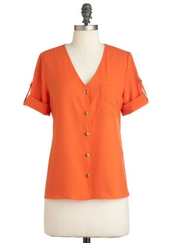 Hooray of Sunshine Top - Solid, Buttons, Pockets, Casual, Short Sleeves, Orange, Mid-length, Button Down, V Neck