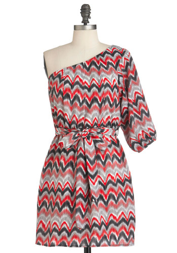 Marbleized Marvel Dress in Red - Short, Multi, Red, Black, Grey, White, Print, Party, Shift, 3/4 Sleeve, One Shoulder, Belted, Chevron