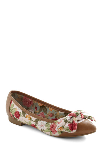 Antique Tock Flats - Multi, Red, Green, Tan / Cream, Floral, Bows, Pink, Casual