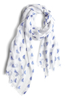 Give Her the Sloop Scarf - White, Blue, Novelty Print, Casual, Nautical, Summer