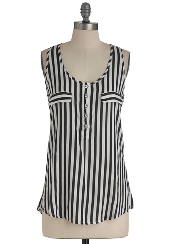 I'll Be Racerback Tank in Black - White, Stripes, Buttons, Racerback, Black, Pockets, Casual, Mid-length, Travel