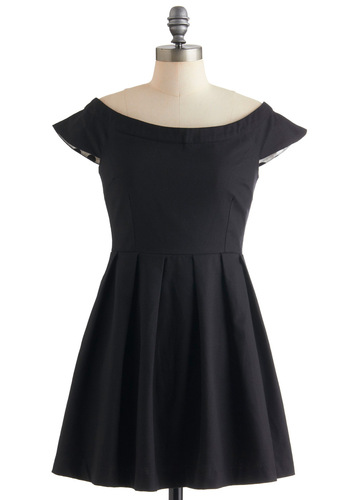 Aria Code Dress by Mink Pink - Short, Black, Solid, Pleats, Cap Sleeves, Fit & Flare, Party, Cotton, Boat
