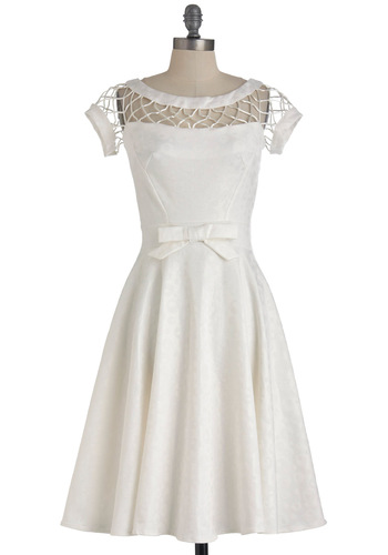 With Only a Wink Dress in White by Bettie Page - Long, White, Solid, Bows, Short Sleeves, Fit & Flare, Wedding, Party, Summer, Woven, Formal, Vintage Inspired, 50s