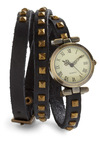 Stud-y Abroad Watch - Black, Solid, Studs, Urban, Leather, Steampunk