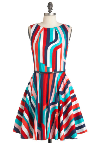 Luck Be a Lady Dress in Deco - Multi, Multi, Stripes, Exposed zipper, Party, Sleeveless, Belted, Cocktail, Cotton, Fit & Flare, Mid-length