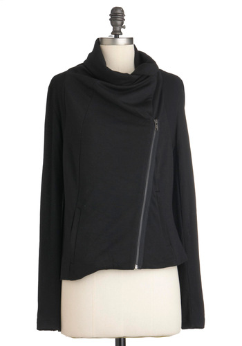 Everyday Antwerp Jacket - Short, Black, Exposed zipper, Pockets, Long Sleeve, Solid, Casual, 1.5