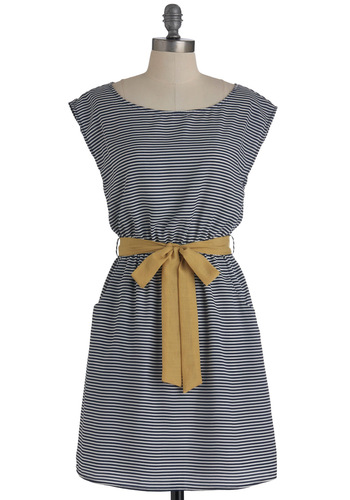 Toast the Coast Dress - Yellow, White, Stripes, Pockets, Casual, Cap Sleeves, Mid-length, Belted, Blue, Nautical, A-line, Spring, Tis the Season Sale