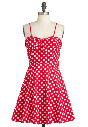 Getting Dot in Here Dress - Short, Red, White, Polka Dots, Cutout, Party, A-line, Spaghetti Straps, Summer, Pinup, Cotton, Fit & Flare, Sweetheart, Casual, Vintage Inspired, 50s