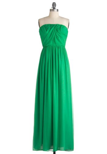 Captain's Table Dress - Long, Green, Solid, Maxi, Strapless, Party, Ruching
