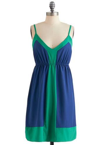 To-Do Minimalist Dress - Mid-length, Blue, Green, Casual, Empire, Spaghetti Straps, Summer, Exclusives